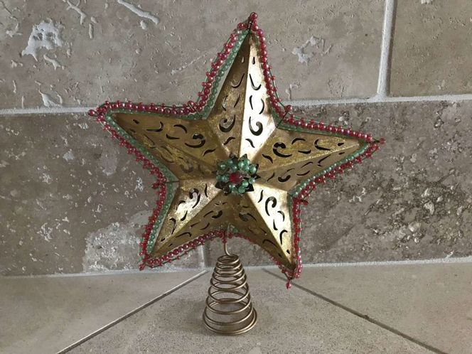 Gold Metal Star Tree Topper W/ Red & Green Beads for sale in Salt Lake City , UT