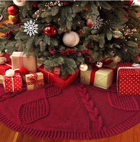 Christmas Tree Skirt, 48 inches Cable Knit  Xmas Holiday Decoration for sale in Salt Lake City , UT