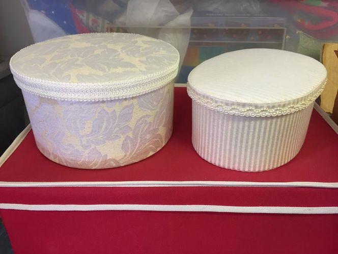 HATBOXES (2) perfect condition white cream for sale in Alpine , UT