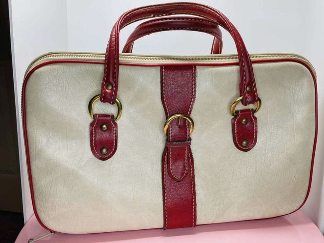 Vintage Red And White Faux Leather Hand Luggage for sale in American Fork , UT
