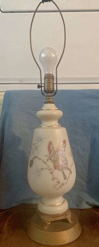 Midcentury Frosted Gold Trim Butterfly Lamp  for sale in Sandy , UT