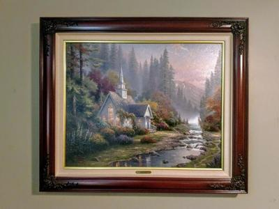 RARE Thomas Kinkade The Forest Chapel P/P Canvas