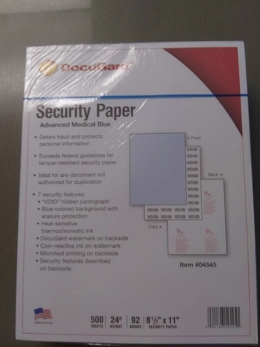 Docugard blue RX #04543 security paper 2.000 sheets  $12.00 per 500 sheets for sale in Cottonwood Heights , UT