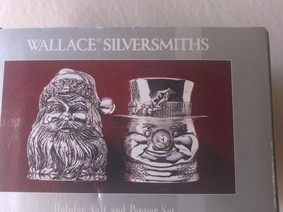 Vintage Holiday salt and pepper set Wallace Silversmiths