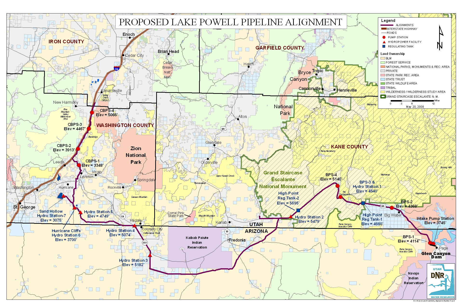 this map shows the route of the proposed pipeline as well as the placementof hydroelectric stations and pumping stations. lake powell pipeline could quadruple water costs u economists