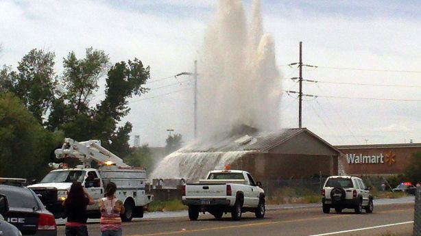 Geyser Like Water Malfunction Shoots Through Roof Of