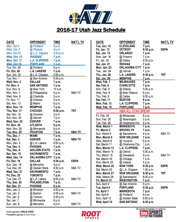 This is a picture of Massif Utah Jazz Schedule Printable