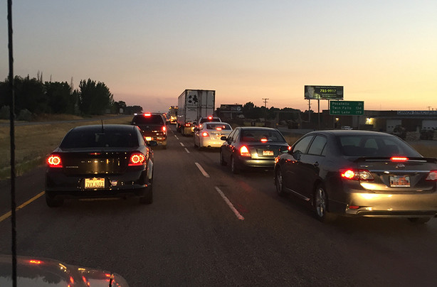 Bumper-to-bumper traffic on I-15 as eclipse viewers leave