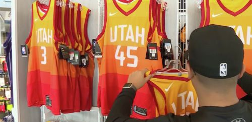 d96b7bdcf61 Jazz break arena store sales record with debut of new uniforms against  Warriors