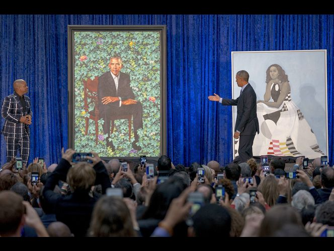 The Latest: Obama: Working with artist on a portrait a \'joy\'