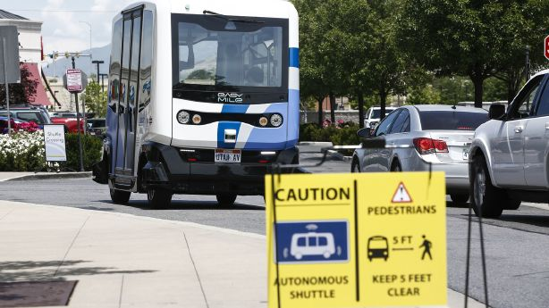 Driverless shuttle debuts at Station Park