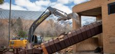Former state-of-the-art Dee Events Center marquee comes tumbling down