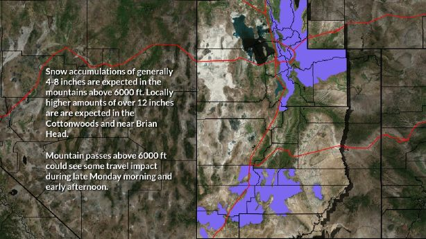 Winter weather advisory issued for Utah mountains; strong winds continue in southern Utah