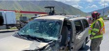 1 person in serious condition after semitruck, car collide in Mapleton
